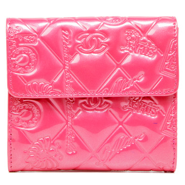 Chanel Pink Patent Lucky Symbols French Flap Wallet