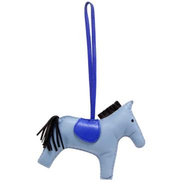Hermes Bleu Lin/Bleu Electrique/Noir Milo Lambskin GriGri Rodeo Horse Bag Charm GM