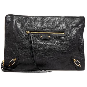Balenciaga Black Lambskin Classic Pouch