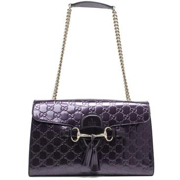 Gucci Purple Shine Guccissima Medium Emily Chain Shoulder Bag