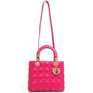 Christian Dior Pink Cannage Lambskin Medium Lady Dior