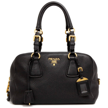 Prada Black Vitello Daino Bauletto Bag