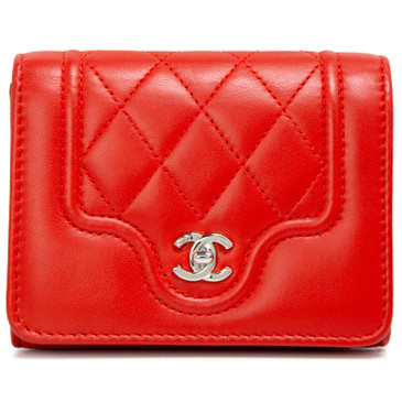 Chanel Red Lambskin Futuristic Card Case