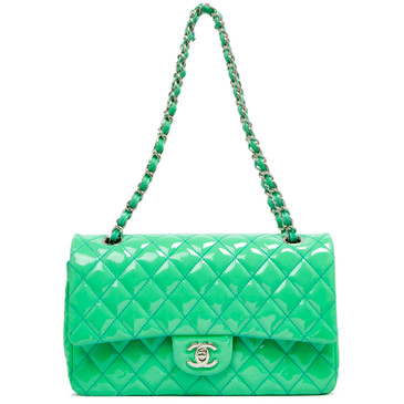Chanel Mint Green Patent Medium Classic Double Flap
