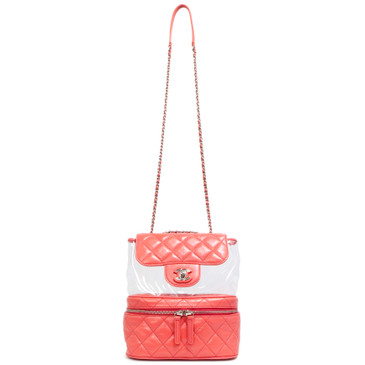 Chanel Pink Crumpled Calfskin & PVC Flap Bag
