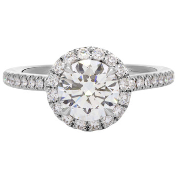 "Harry Winston ""The One"" 950 Platinum Diamond Micropave Engagement Ring"