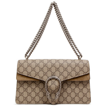 Gucci GG Supreme Monogram Canvas & Brown Suede Small Dionysus Shoulder Bag