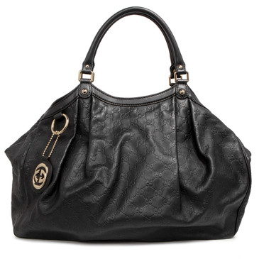 Gucci Black Guccissima Leather Large Sukey Tote