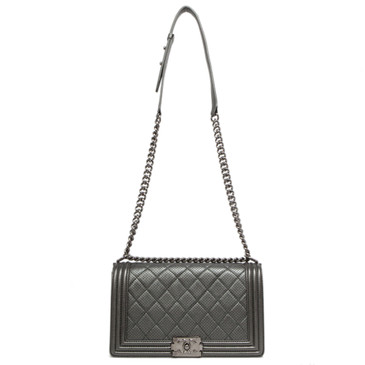 Chanel Perforated Dark Metallic Grey New Medium Boy Bag