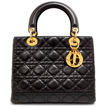 Christian Dior Black Cannage Lambskin Medium Lady Dior