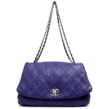 Chanel Blue Quilted Calfskin CC Curvy Flap