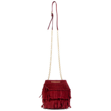 Burberry Cherry Suede Fringe Mini Bucket Bag