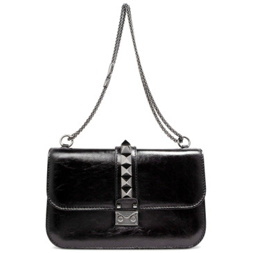 Valentino Black Crackled Calfskin Medium Glam Lock Rockstud Flap