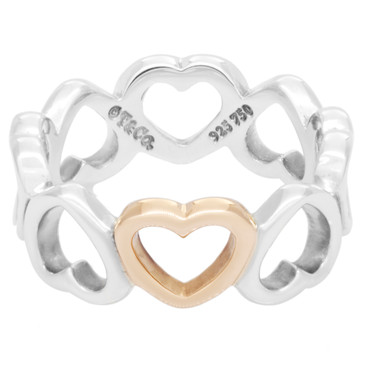 Tiffany & Co. Sterling Silver & 18K Rose Gold Hearts Ring