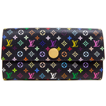 Louis Vuitton Black Multicolor Violette Sarah Wallet