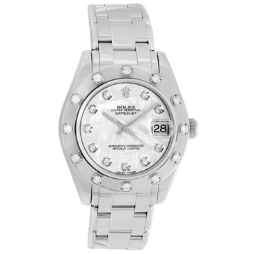Rolex 18K White Gold & Diamond Pearlmaster 34 81319