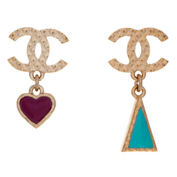Chanel Heart & Triangle Earrings