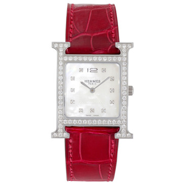 Hermes Stainless Steel & Diamond Heure H Quartz Watch HH1.530