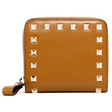 Valentino Brown Calfskin Rockstud Compact Wallet