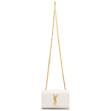 Saint Laurent Ivory Grain De Poudre Small Monogram Kate Satchel