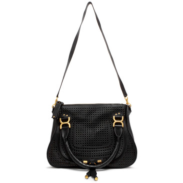 Chloe Black Perforated Calfskin Medium Marcie Satchel