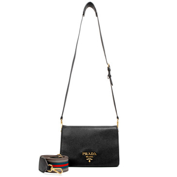 Prada Nero Vitello Daino Double Compartment Shoulder Bag