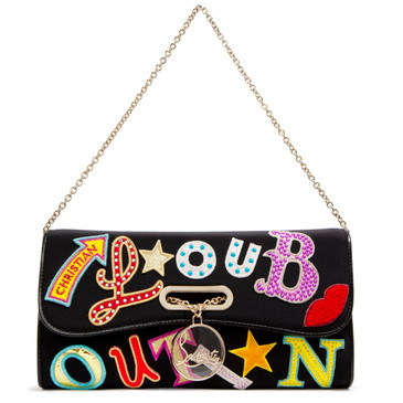 Christian Louboutin Black Canvas Riviera Clutch