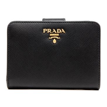 Prada Black Saffiano Compact Wallet