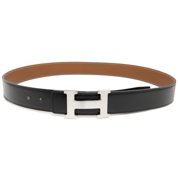 Hermes Black/Gold Box/Togo Brushed 'H' Belt Buckle 32mm Reversible Belt
