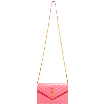 Saint Laurent Pink Grain De Poudre Matelasse Chevron Monogram Envelope Chain Wallet
