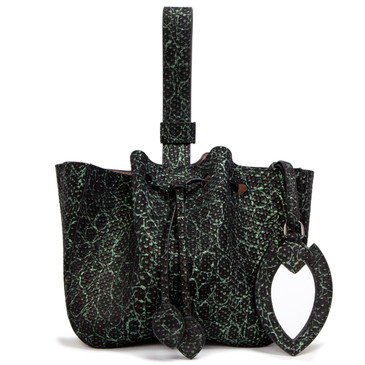 Alaia Black/Green Python Embossed Wristlet Bucket Bag