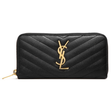 Saint Laurent Black Grain De Poudre Matelasse Chevron Monogram Zip Around Wallet