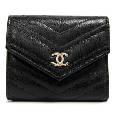Chanel Black Chevron Quilted Goatskin Compact Wallet