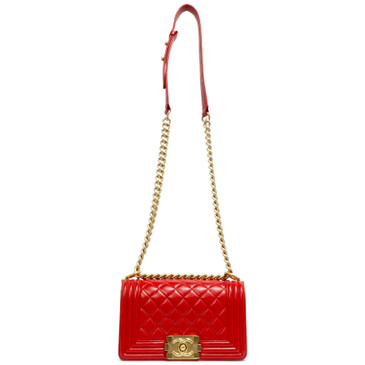 Chanel Red Quilted Lambskin Small Boy Bag
