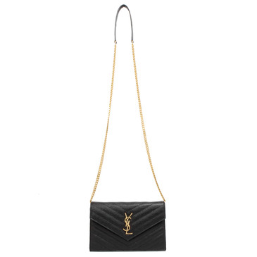 Saint Laurent Black Grain De Poudre Matelasse Chevron Monogram Envelope Chain Wallet