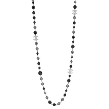 Chanel Black & Grey Pearl Beaded 'CC' Necklace