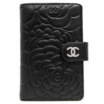 Chanel Black Lambskin Camellia Embossed French Purse Wallet