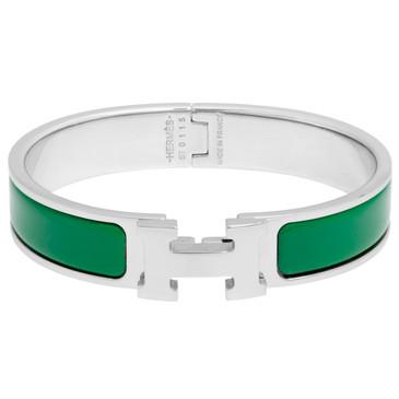 Hermes Vert Sapin Enamel Narrow Clic Clac Bracelet