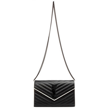 Saint Laurent Black Chevron Matelasse Grain De Poudre Monogram Chain Wallet