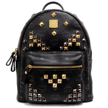 MCM Black Visetos Canvas Studded Small Stark Backpack