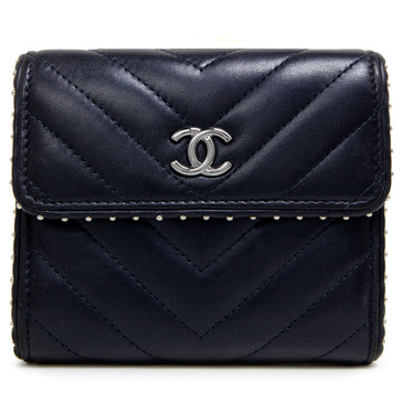 Chanel Navy Lambskin Chevron Studded Compact Flap Wallet