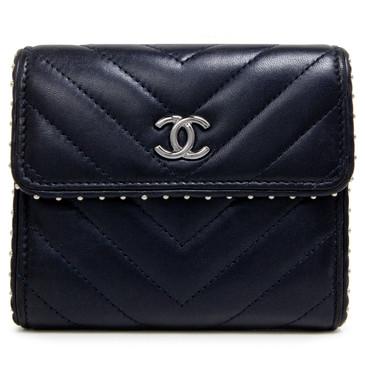 Chanel Navy Lambskin Chevron Studded Compact Flap Wallet