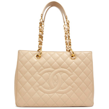 Chanel Beige Quilted Caviar Grand Shopping Tote GST