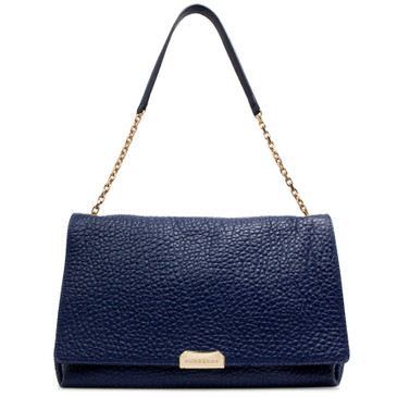 Burberry Blue Signature Grained Leather Mildenhall Shoulder Bag