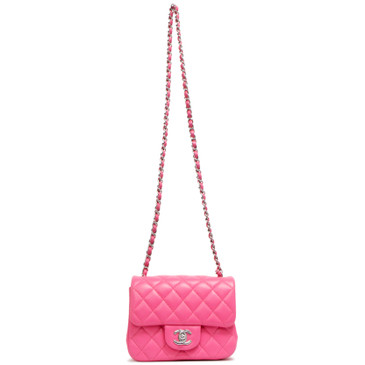 Chanel Pink Quilted Lambskin Mini Square Flap
