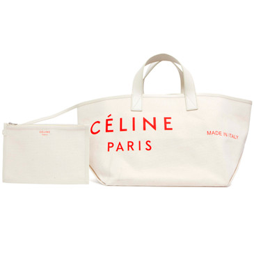 Celine Natural/Red Textile Small Made In Tote
