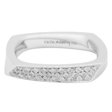 Tiffany & Co. 18K White Gold & Diamond Frank Gehry  Torque  Ring