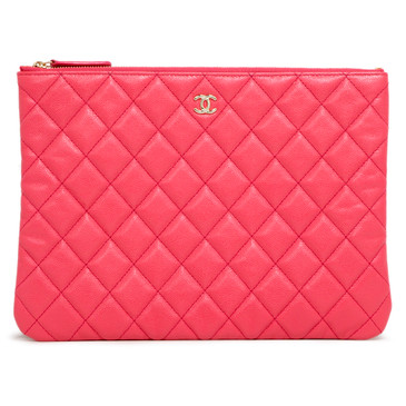 Chanel Coral Caviar Quilted Medium Cosmetic Case