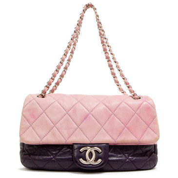 Chanel Bicolor Purple Lambskin Medium Flap Bag