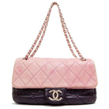 Chanel Bicolor Purple Lambskin Medium Flap Bag